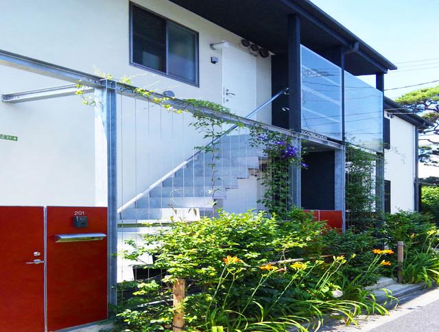 茶室のあるモダン和風の家 和室和風-エクステリア-外観外構
