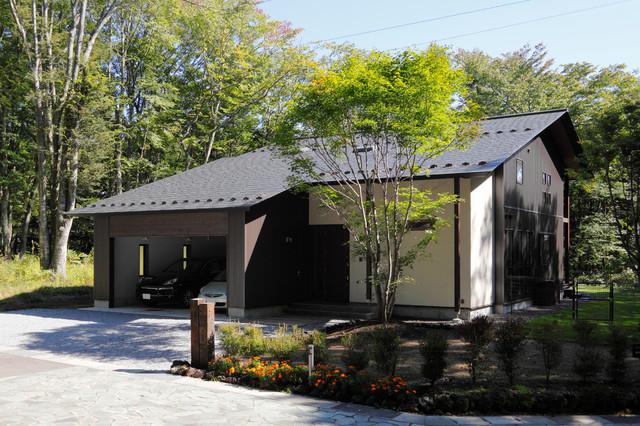 他の地域, のコンテンポラリースタイルの二階建て住宅の写真 (混合材サイディング、黒い外壁、切妻屋根、戸建、金属屋根)