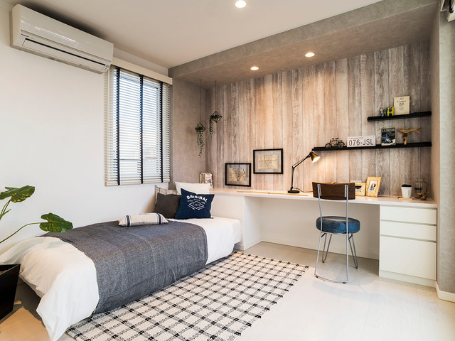 Example of a white floor bedroom design in Other with white walls