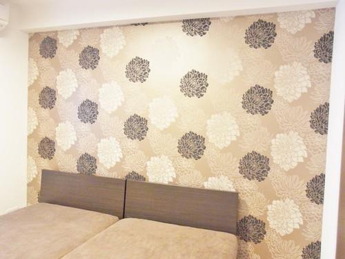 寝室に輸入壁紙(北欧)をアクセントクロスとして使った施工例