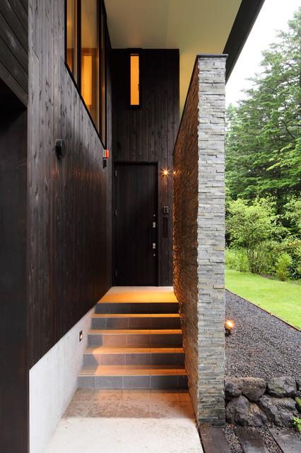 他の地域, の中サイズの片開きドアモダンスタイルの玄関ドアの写真 (黒い壁、セラミックタイルの床、黒いドア、グレーの床)