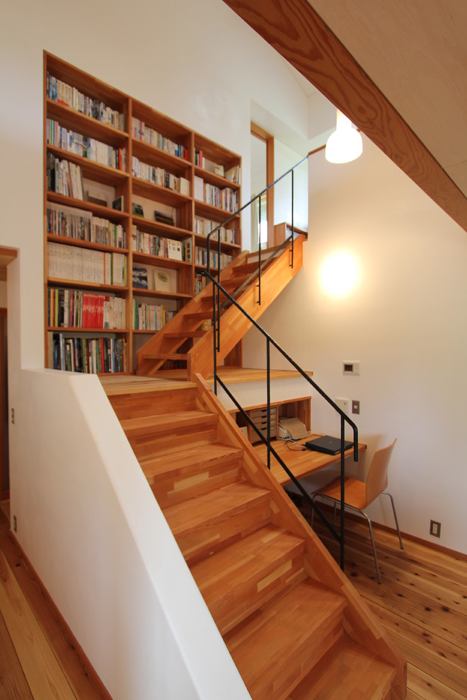 Example of a small zen wooden l-shaped staircase design in Other with wooden risers