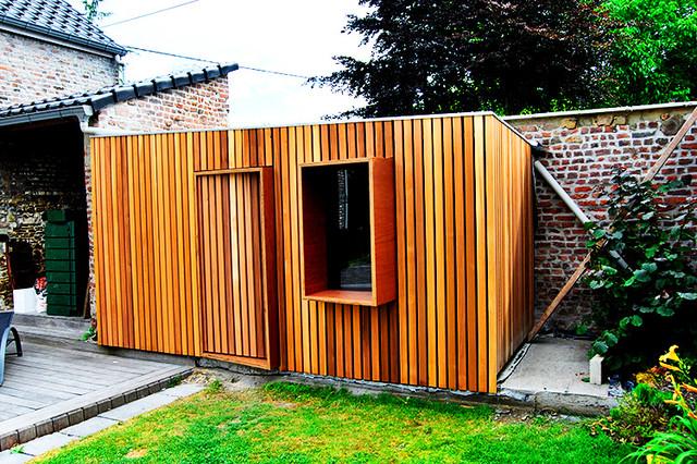 Abri de jardin contemporary garden shed and building other by design with genius sprl - Abri jardin bois design mulhouse ...