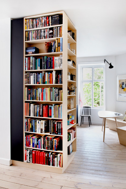 Three sided bookshelf and storage unit scandinavian-family-and-games-room