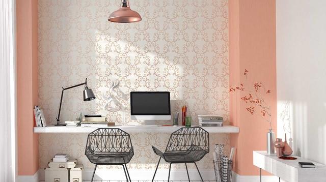 Farbtrends so kombiniert man kupferorange - Wohnzimmer tapete modern ...
