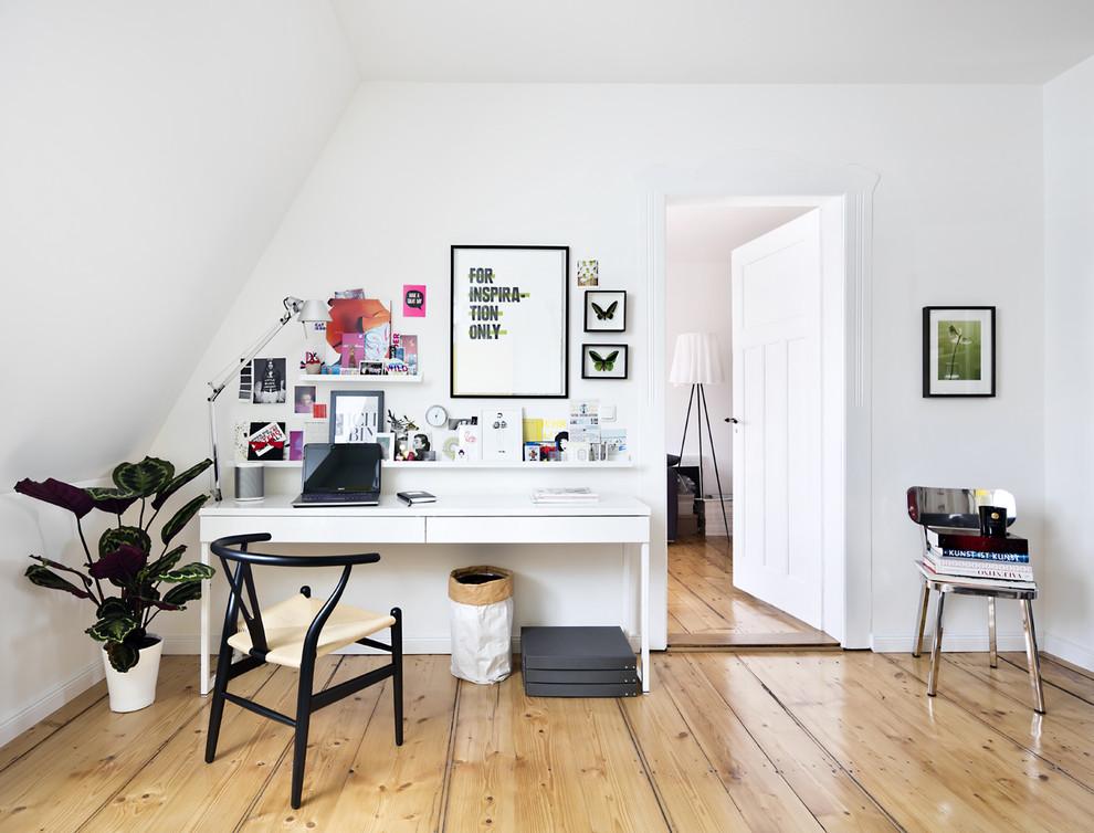 书房白色照片墙北欧风格装饰效果图