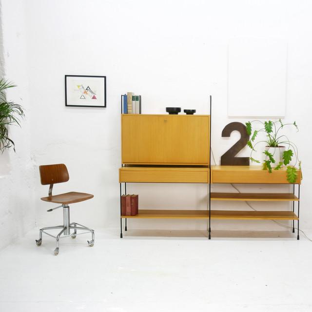 omnia regalsystem mit schreibtisch 60er jahre. Black Bedroom Furniture Sets. Home Design Ideas