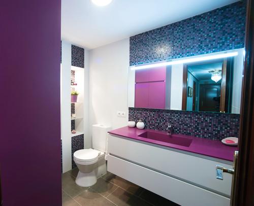 purple backsplash and tile flooring