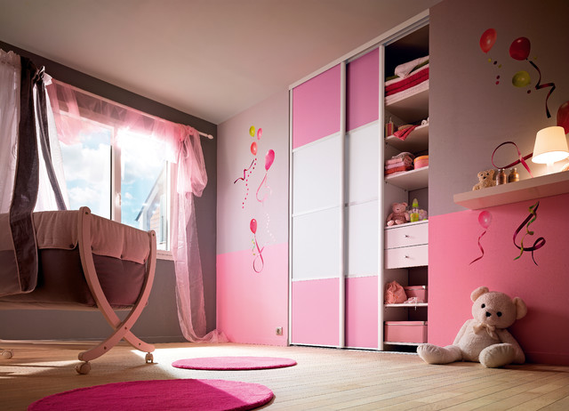 portes de placard enfant rose et verre laqu aluminium sifisa. Black Bedroom Furniture Sets. Home Design Ideas