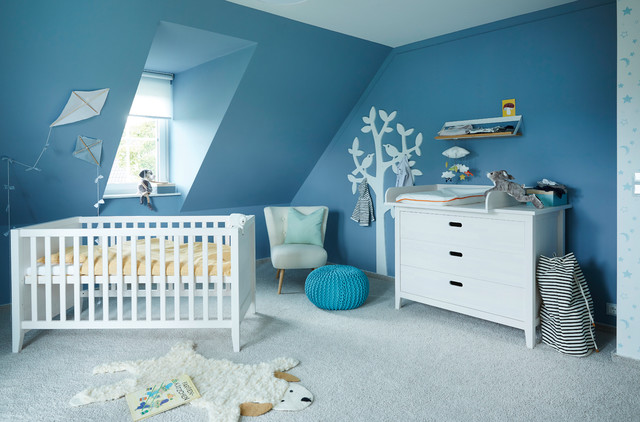 Example Of A Mid Sized Danish Boy Carpeted And Gray Floor Nursery Design In Other