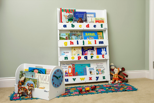 kinder-bücherregal weiß mit alphabet - contemporary - nursery