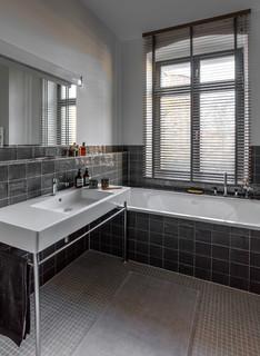 Badezimmer mit schwarzen Fliesen Ideen, Design & Bilder | Houzz