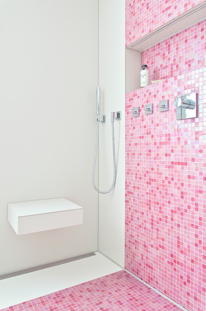Bad in Pink mit Mosaik | {Bad modern mosaik 37}
