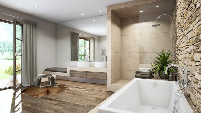 Natursteinwand Badezimmer