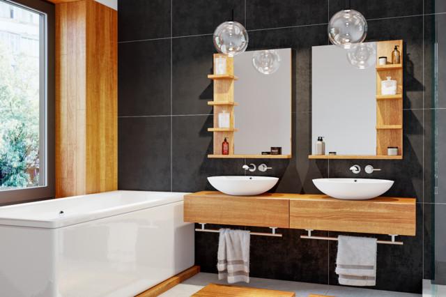 Badezimmer Möbel aus Holz als Blickfang im dunklen Bad ...