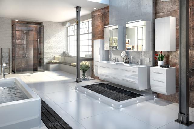 Schön Badmöbelset ZESIRO   Hochglanz Weiß Modern Badezimmer