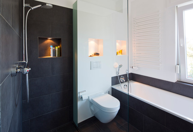 ideen f r kleine b der g ste wc mit dusche modern badezimmer. Black Bedroom Furniture Sets. Home Design Ideas