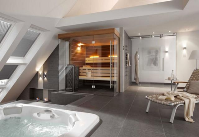 Individuelle Design Sauna Nach Mass Mit Glasfront Im Bad Modern Badezimmer Hamburg Von Corso Sauna Manufaktur Gmbh