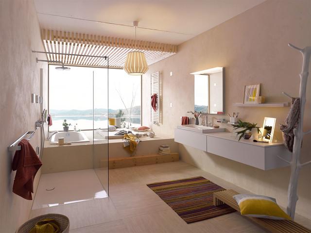 kleiner farbenfroher kelim im badezimmer mediterranean bathroom berlin by kiran kelim. Black Bedroom Furniture Sets. Home Design Ideas