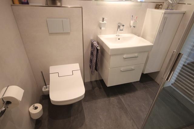 Kleines Duschbad Mit Echtglas Schiebetür Und Dusch WC Modern Badezimmer