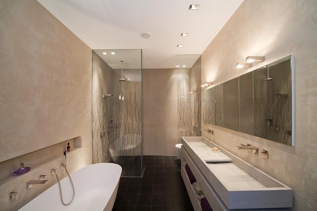 Masterbad mit mineralputz contemporary bathroom for Raumabtrennung ideen