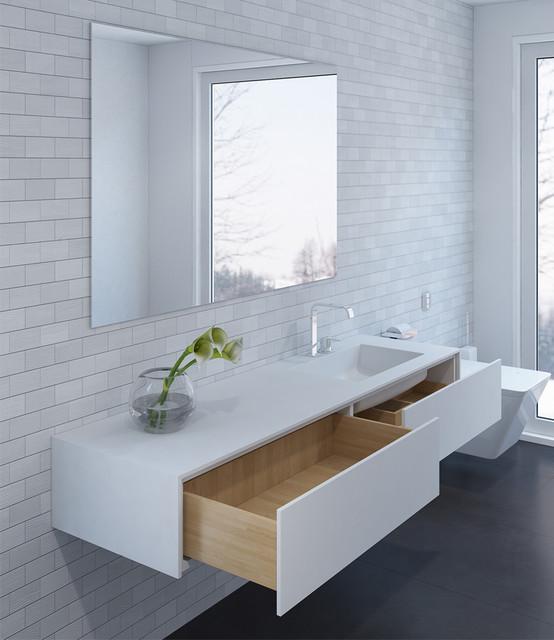 moderner Waschtisch weiß - Corian und Holz - Modern ...
