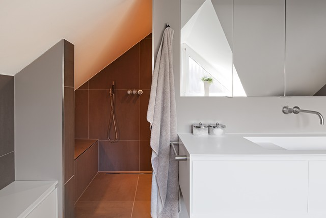 Design Ideas For A Large Contemporary Bathroom In Munich With An Integrated  Sink, Flat