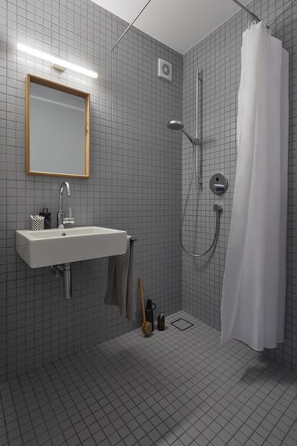 Ispirazione per una piccola stanza da bagno con doccia minimalista con doccia a filo pavimento, piastrelle grigie, piastrelle in ceramica, pareti grigie, pavimento con piastrelle in ceramica, lavabo sospeso e doccia con tenda