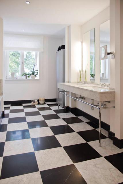 Schwarz Weiße Fliesen warme bad optik schwarz weiße fliesen contemporary bathroom