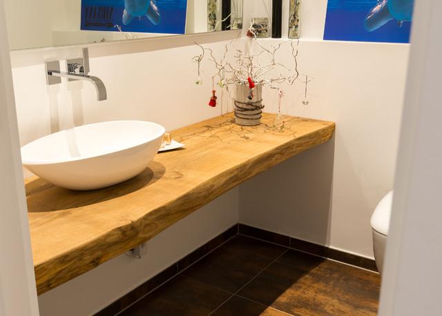 Waschtischplatte aus massivem Eichenholz - Rustikal - Badezimmer ...