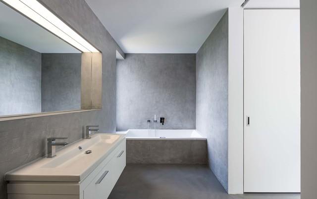 Wohnhaus k freiburg for Badezimmer beton holz