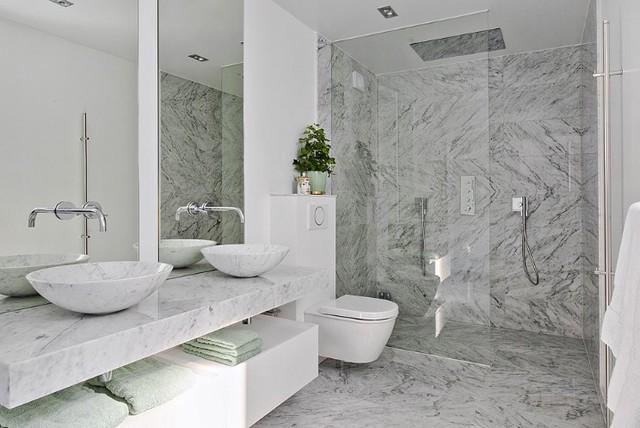 Äkta marmor Bianco Carrara - Traditional - Bathroom - Stockholm ...
