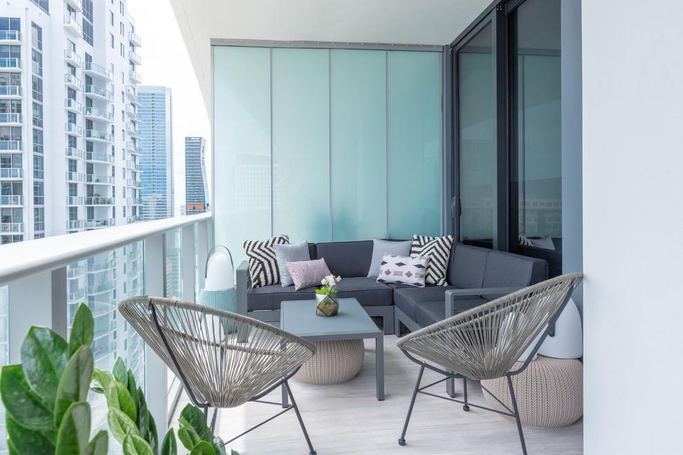 Brickell High Rise Classic Living Contemporary Balcony Miami By Ann Ueno Interior Design