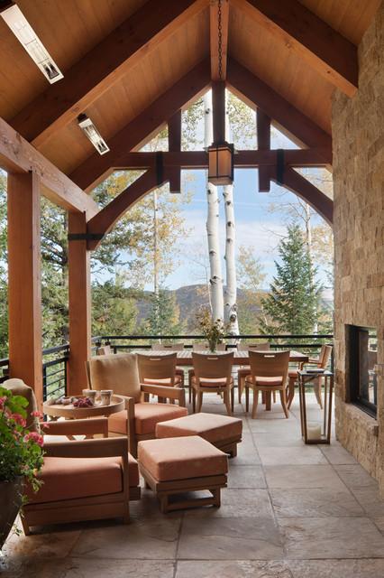 Colorado Ski House rustic-balcony