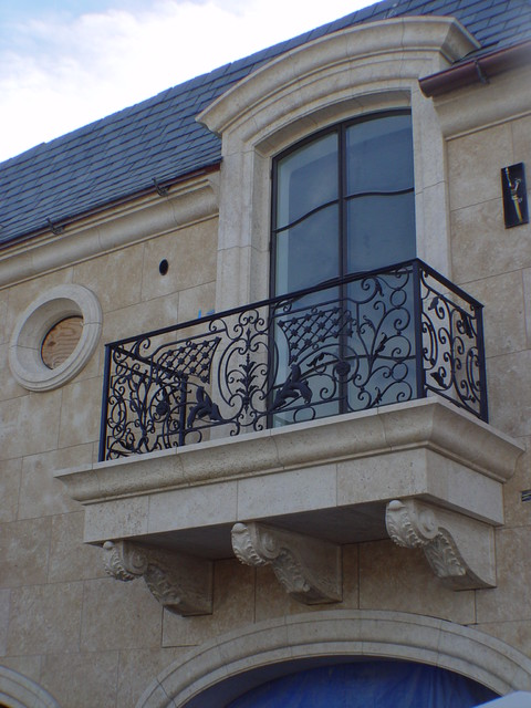 French limestone traditional balcony los angeles for Traditional balconies