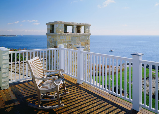 Coastal balcony photo in Boston with a roof extension