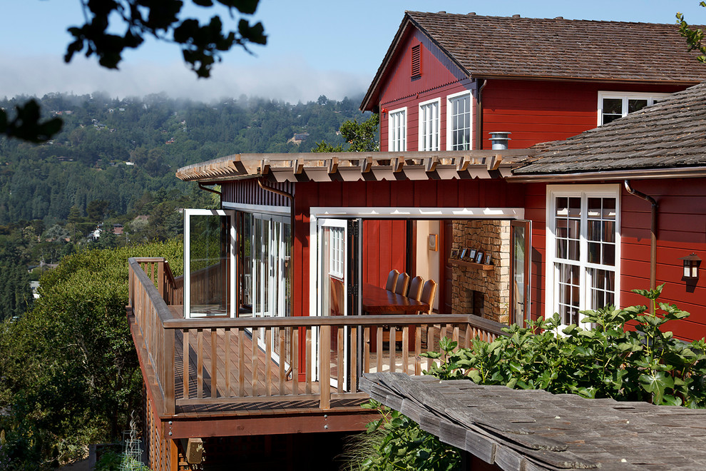 Inspiration for a timeless balcony remodel in San Francisco with a pergola