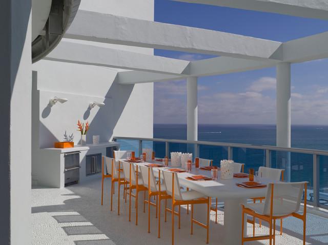 Jennifer Post designed apartment  at The Bath Club, Miami Beach modern-balcony