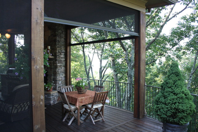 Nice Retractable Insect Screens At Luxury Mountain Lodge Eclectic Porch