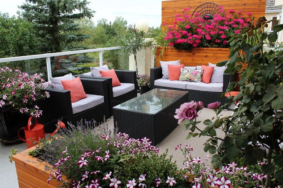 Balcony - mid-sized contemporary balcony idea in Calgary with no cover