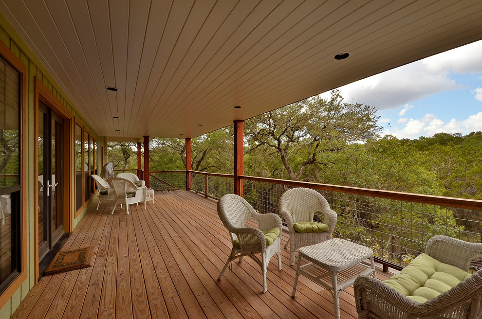 Example of a mountain style balcony design in Austin