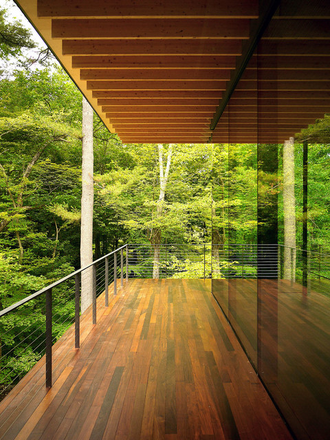 Wood And Glass House Modern Balcony New York By