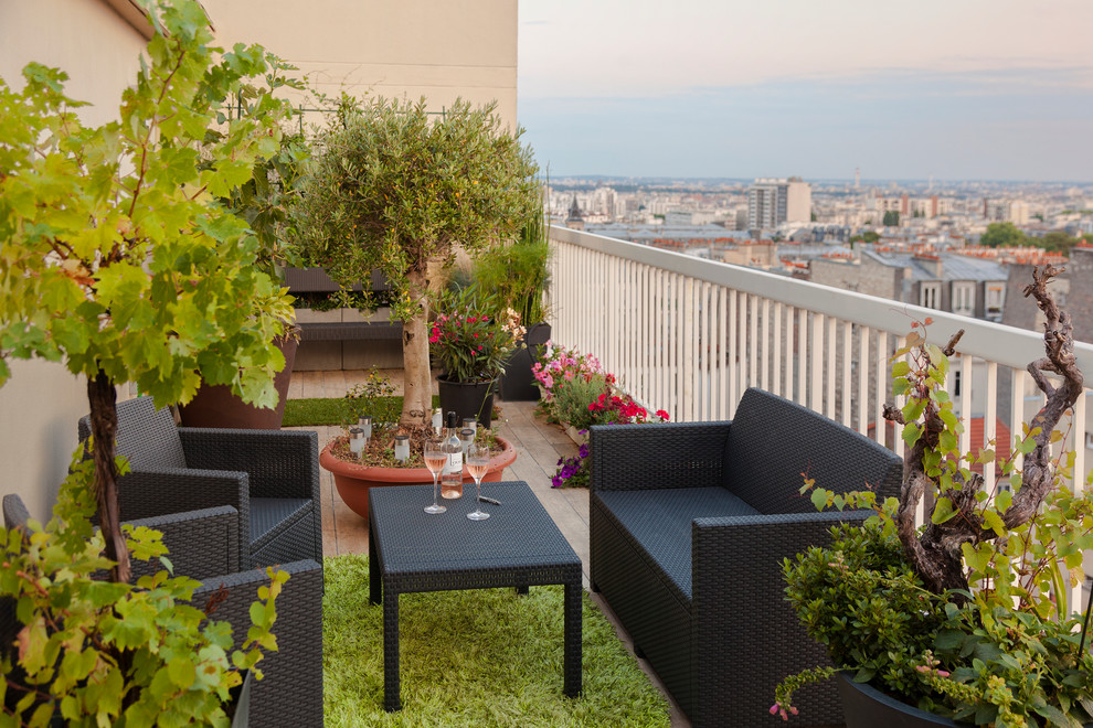 Mid-sized trendy balcony container garden photo in Paris with no cover