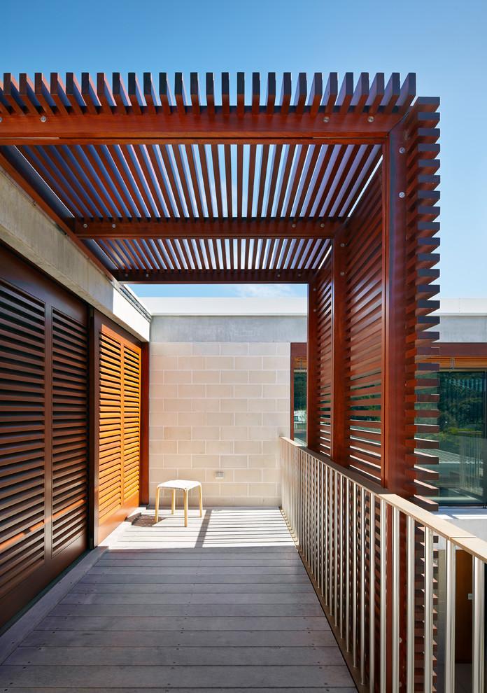 Balcony - large contemporary privacy balcony idea in Sydney with a pergola