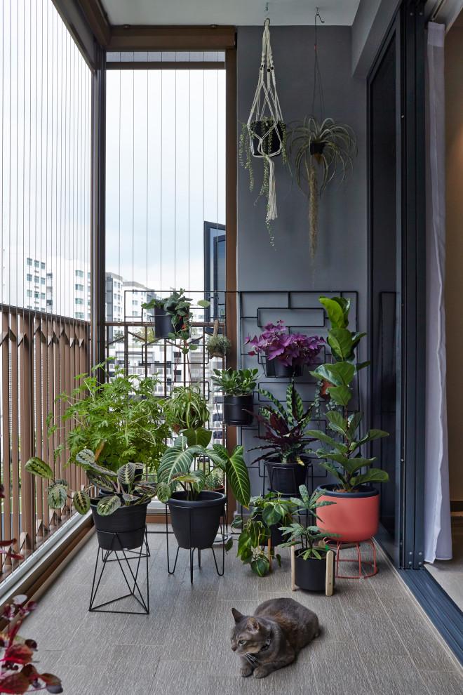 Balcony container garden - contemporary metal railing balcony container garden idea in Singapore with a roof extension