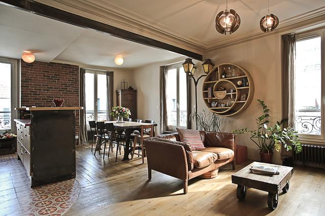 séjour industriel rétro , Industriel , Bar de Salon , Paris