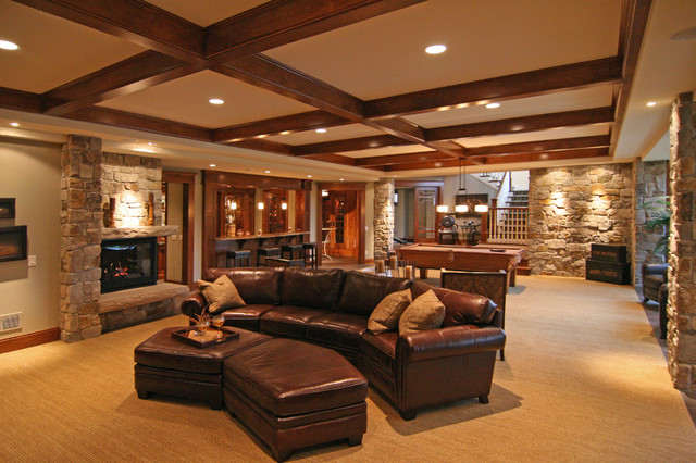 Example of a trendy basement design in Minneapolis