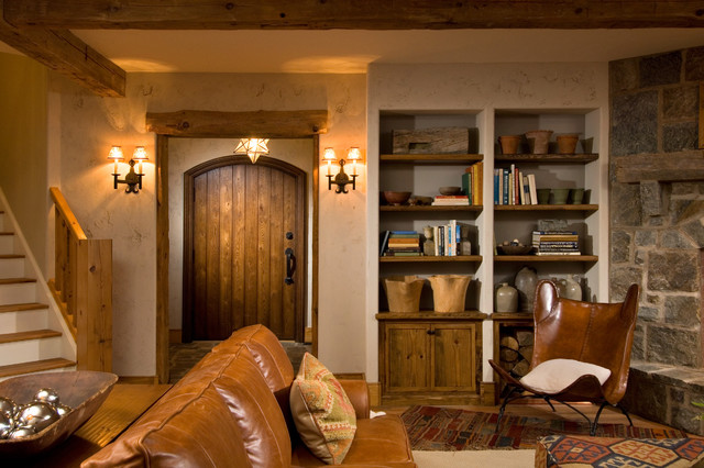 2011 showcase hillside retreat rustic basement for Rustic basement