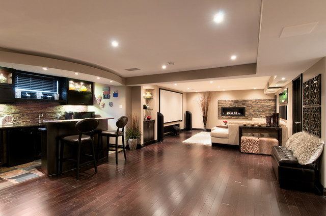 A basement with room to entertain contemporary basement ottawa by just basements - Basements by design ...