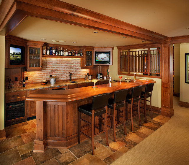 A collaborative design group traditional basement for Home bar design ideas